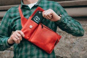 Красная кожаная бананка, Поясная сумка, Нагрудная бандитка  - ІНШІ РОБОТИ