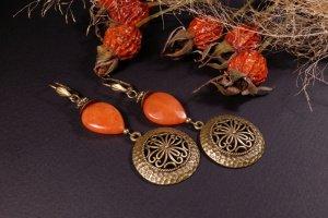 Робота Помаранчеві сережки з бронзою Гарбузові