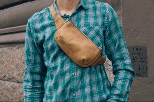 Робота Поясная кожаная сумка, Бананка коричневая, Нагрудная сумка
