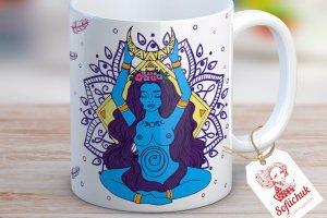 Медитація (Богиня Місяця і мандала) - дизайнерська чашка - ІНШІ РОБОТИ