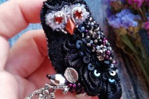 Брошь черная сова брошка птица птичка маленькая брошь