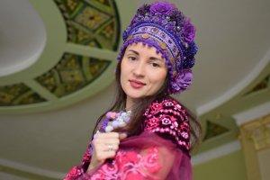 Очіпок український фіолетовий, вінок квітковий пишний, етно  - ІНШІ РОБОТИ