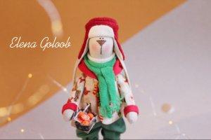Робота Рождественский Зайчик с мандаринами