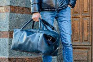Темно-синяя дорожная сумка, Кожаная спортивная сумка