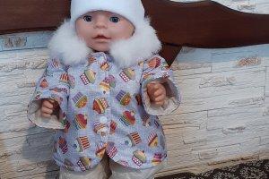 Робота Зимняя курточка, комбинезон, шапка для кукол Беби Борн.