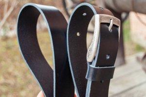 Робота Чорний шкіряний ремінь 3,5 см під джинси