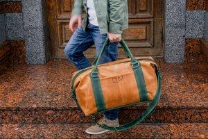 Робота Коричнева дорожня сумка, Сумка з вінтажній шкіри