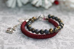 Набір браслетів з бісеру та машанського нефриту - ІНШІ РОБОТИ