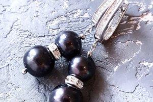 Робота Натуральні чорні перли високого класу сережки з кристалами