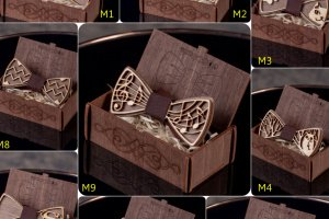 Комплект дерев'яний метелик і запонки - Опис
