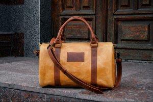 Коричнева жіноча дорожня сумка, Кожана сумка - саквояж - ІНШІ РОБОТИ