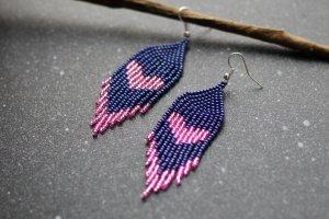 Сині з рожевим романтичні сережки з бісеру - ІНШІ РОБОТИ
