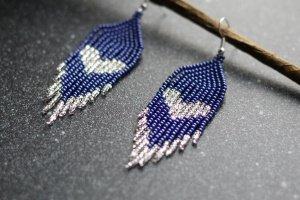 Сині сережки з срібними серцями, подарунок на дн - ІНШІ РОБОТИ
