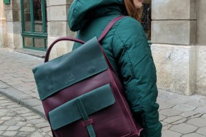 Шкіряний рюкзак трансформер Jordan bp_17 Bordo + Green