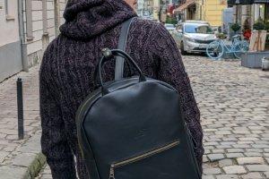 Робота Рюкзак для чоловіків і жінок з натуральної шкіри bp_19_black