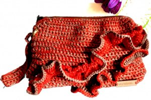 сумка-клатч коралово-бежевого кольору