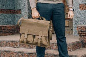 Чоловічий портфель зі зеленої винтажной шкіри - ІНШІ РОБОТИ