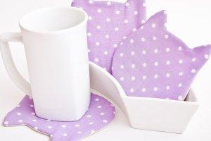 Підставки котики під чашки фіолетові в горошок 4 шт. набір - ІНШІ РОБОТИ