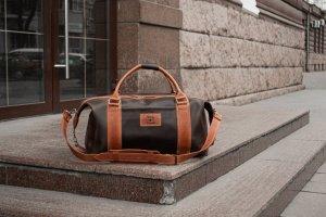 Коричнева спортивна / дорожня сумка, з вінтажній шкіри