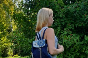 Рюкзак жіночий джинс та гобелен 15007