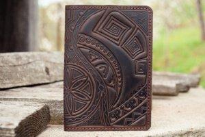 Робота Обкладинка на паспорт шкіряна чоловіча темно-коричнева