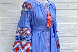 """Робота Синя геометрична довга сукня """"Карпати"""""""