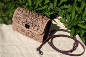 Робота сумка шкіряна Дзвіночки фіолет+бежева