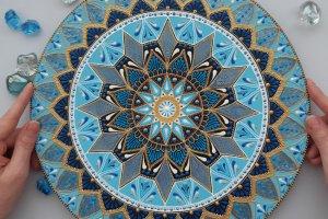 Робота тарілка декоративна Блакитна мандала