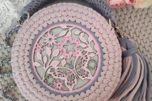 Робота Сумка рожевого кольору з сірими ручками