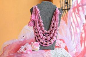 Рожеве літнє намисто, етно коралі багаторядні, подарунок - Опис