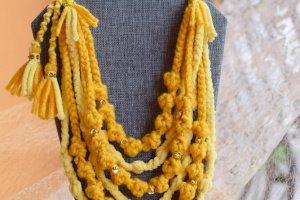 Робота Намисто жовте, етно коралі, багаторядне намисто,буси подарок