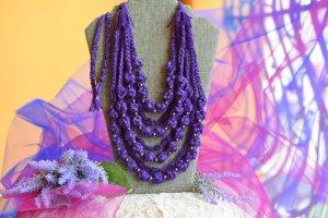 Фіолетове етно намисто, коралі багатошарові, буси подарунок - ІНШІ РОБОТИ