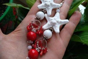 Червоно білі сережки з коралом і білим агатом - ІНШІ РОБОТИ
