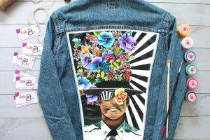 Джинсова куртка з дизайнерським ручним розписом - ІНШІ РОБОТИ