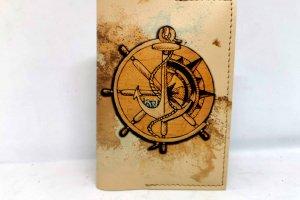 Обкладинка на паспорт з еко шкіри якір і штурвал