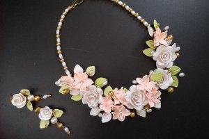 Робота Кольє і сережки з кораловими ліліями Осінній поцілунок
