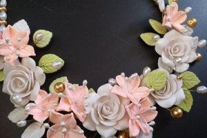 Кольє і сережки з кораловими ліліями Осінній поцілунок - Опис
