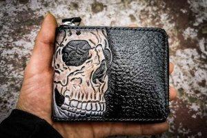 Шкіряний гаманець на блискавки з черепом - ІНШІ РОБОТИ