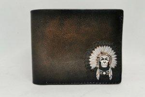 Робота Шкіряний чоловічий гаманець з індіанцем