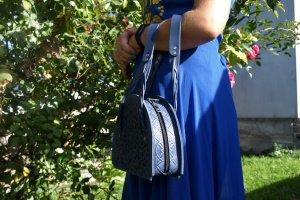 Робота сумка шкіряна Лабіринт синя