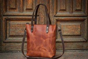 Шкіряна жіноча сумка / Сумка шоппер - Опис