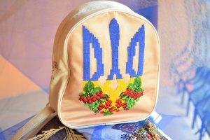 Робота Вишитий рюкзак, герб, тризуб, Україна, подарунок, ранець