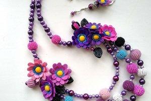 Робота Бузкові намиста з квітами