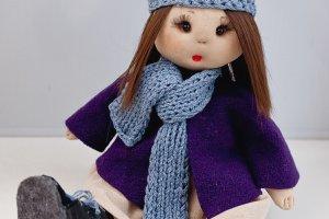 Лялька ручної роботи з довгим волоссям, тряпічная лялька - Опис