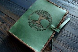 Робота Шкіряний блокнот з Деревом Життя (зелений)