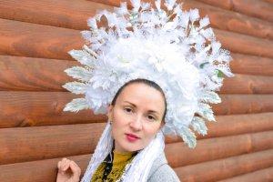 Робота Вінок білий пишний, етно вінок, весільний , квіткова корона