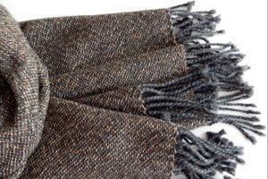 Тканий коричнево-сірий шарф з мериноса з шовком - ІНШІ РОБОТИ