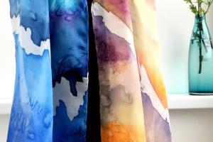 """Робота Шовковий шарф """"Море-сонце"""", натуральний шовк"""