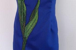 Коктейльна сукня вишита вручну бісером, вечірня сукня  - Опис