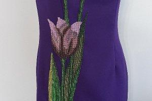 Сукня з ручною вишивкою, коктельна сукня вишита бісером  - Опис